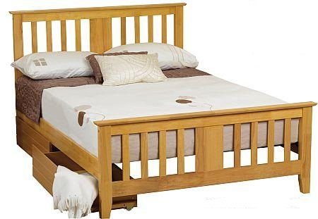 4ft6 Double Greenford Oak finish Wood Bed Frame