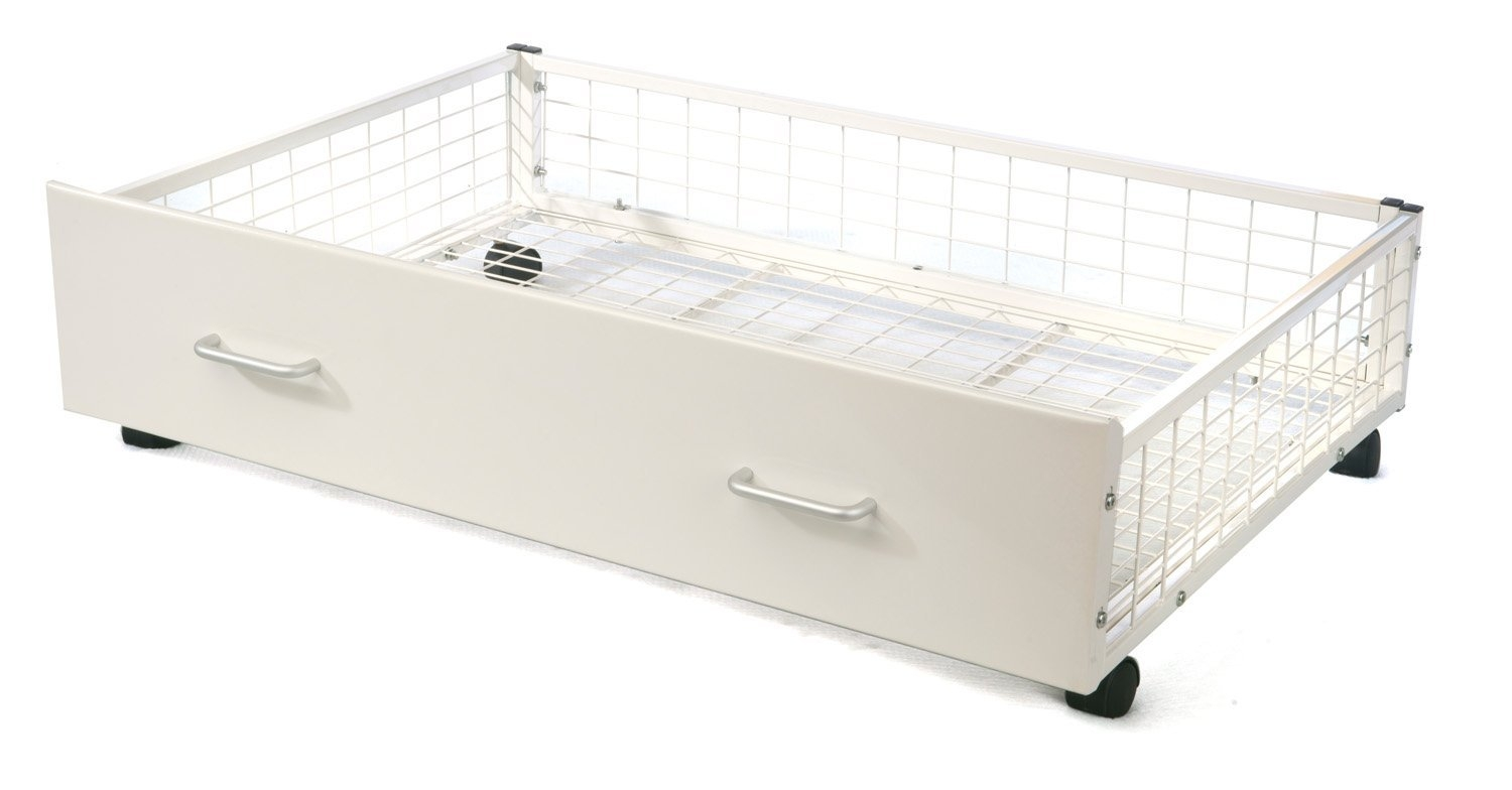 Gloss White Metal Underbed Storage Drawers (pair)